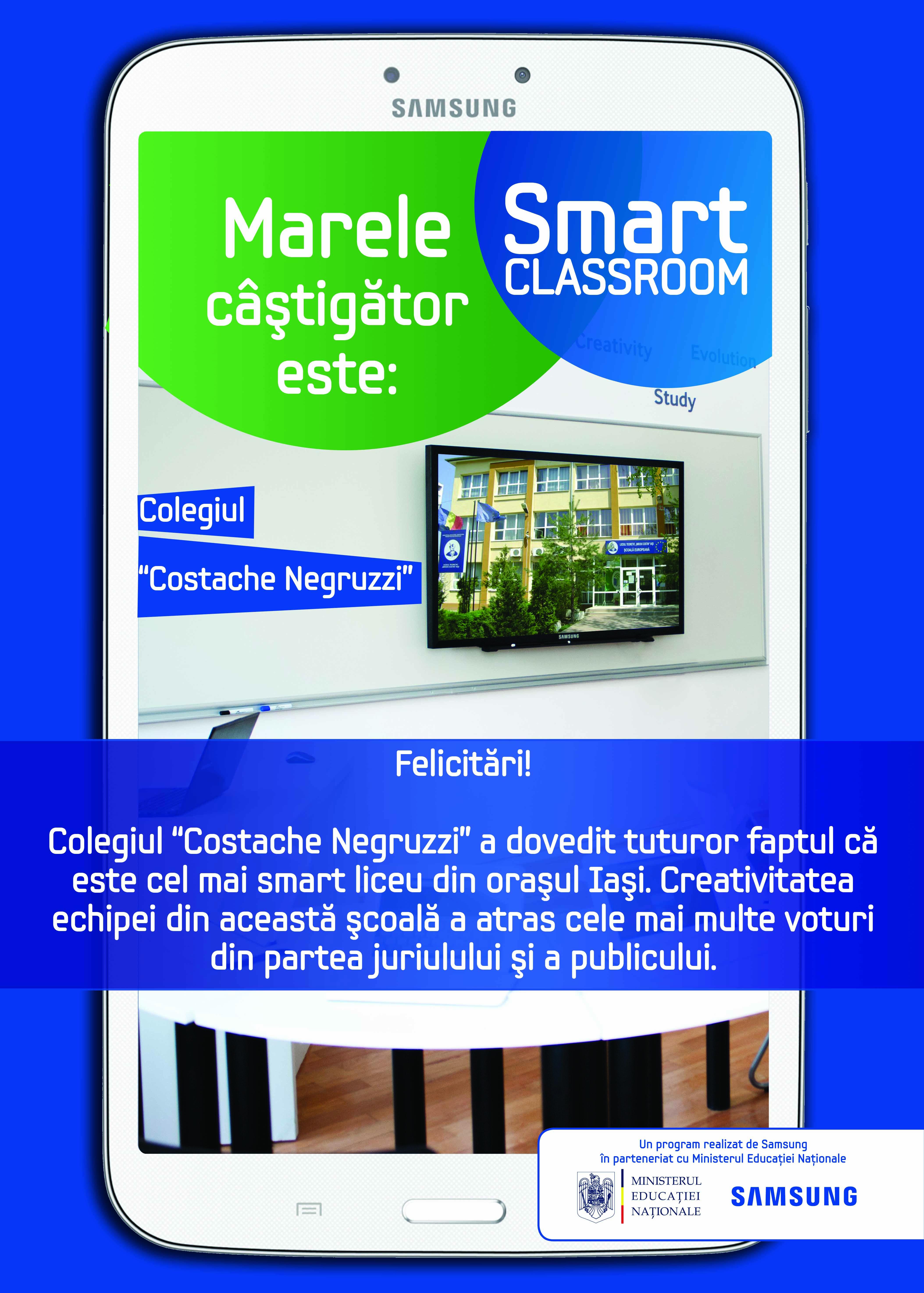 "Colegiul ""Costache Negruzzi""castiga competitia Smart Classroom din Iasi"