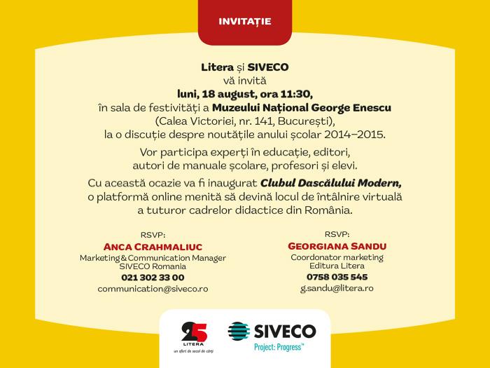Excelența are un nume: Clubul Dascălului Modern Litera și SIVECO vă invită la cel mai așteptat eveniment dedicat începutului de an școlar!