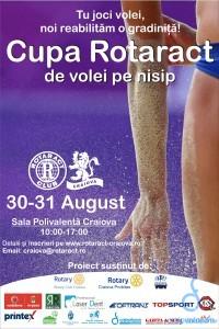 """Rotaract Club Craiova si Sala Polivalenta anunta desfasurarea proiectului """"Cupa Rotaract de volley pe nisip"""", in zilele de 30-31 August."""
