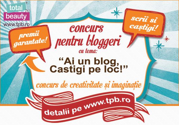 "Recomandare concurs: ""Ai un blog, castigi pe loc!"" cu Total Pro Beauty"