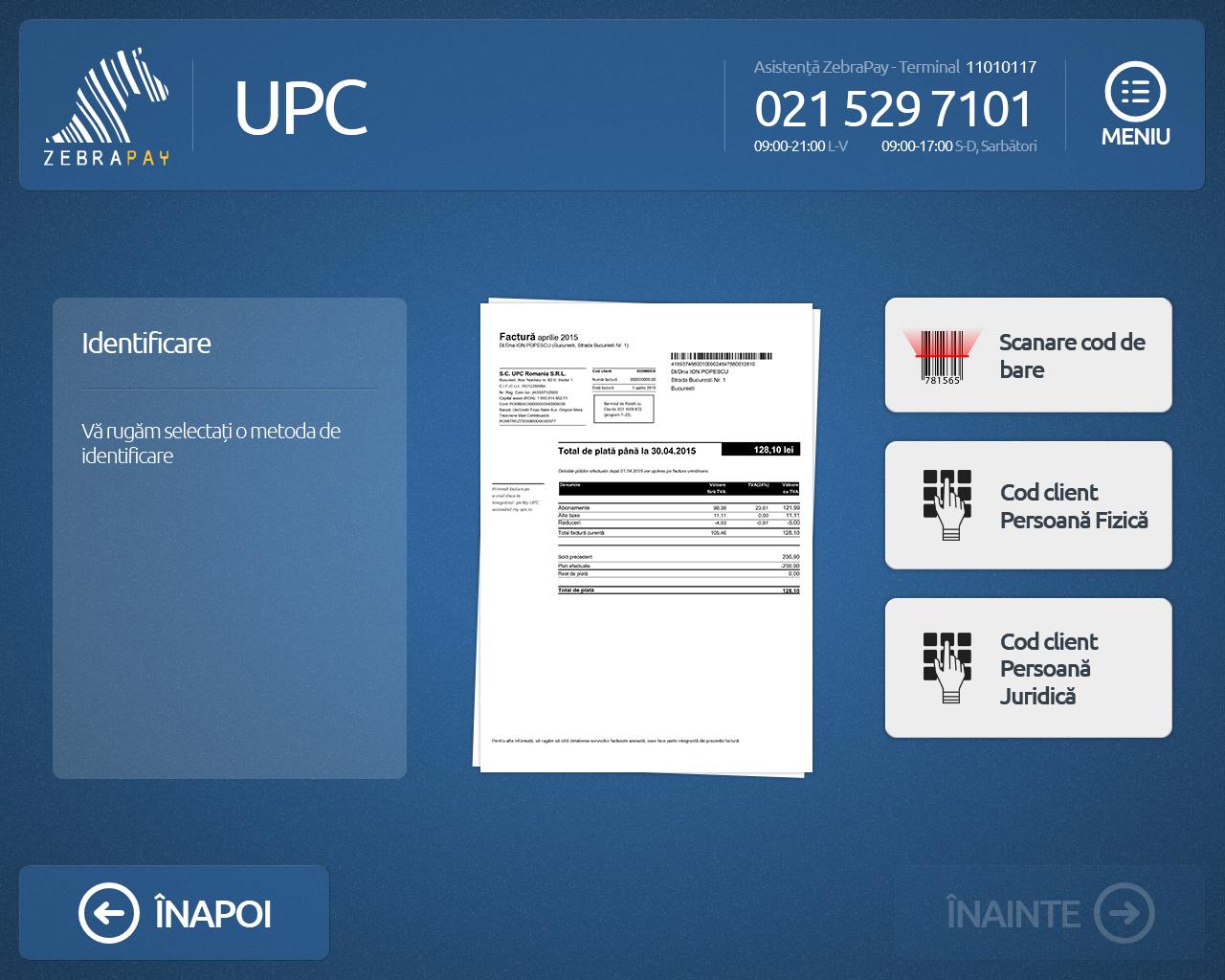 Peste 1 milion de români își pot achita facturile UPC la terminalele ZebraPay