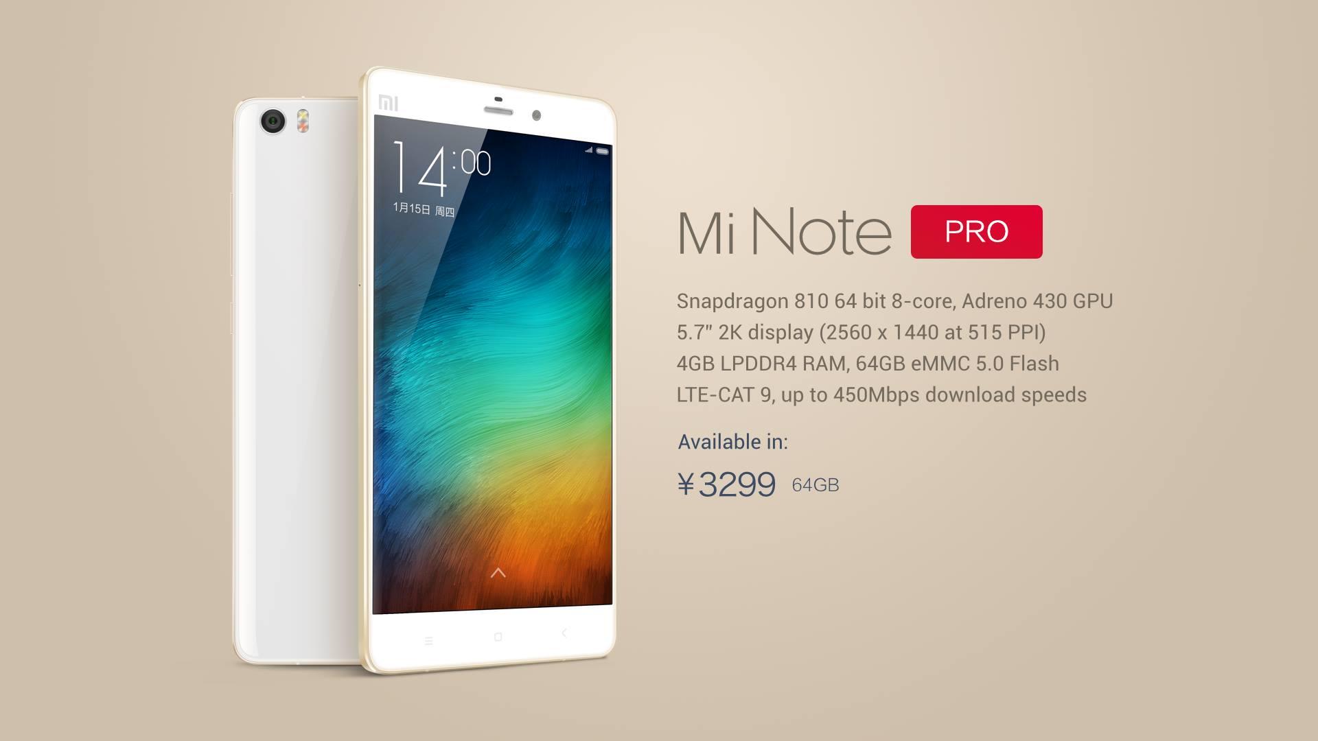 Xiaomi Mi Note Pro lansat pe piata din China