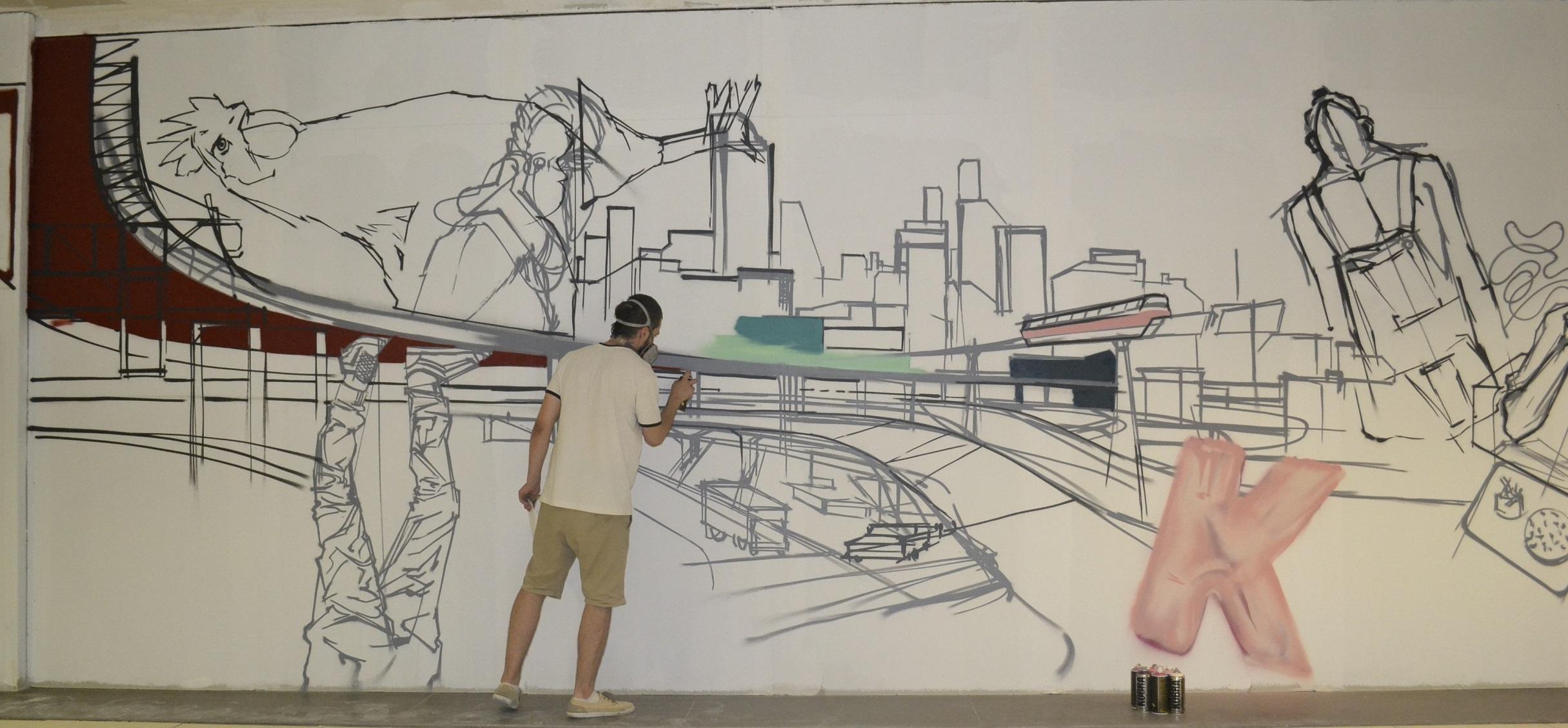 Doi tineri artiști aduc arta urbană în București Mall