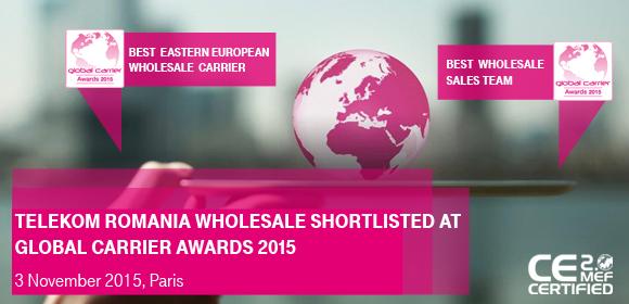 Telekom Romania, prezentă cu două nominalizări în finala competiţiei Global Carrier Awards 2015