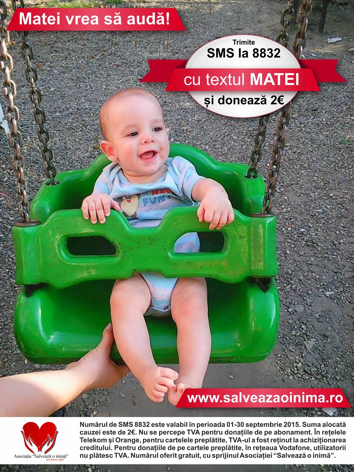 """Un simplu SMS la 8832 cu textul """"Matei""""  poate să-i readucă speranța unui copil"""