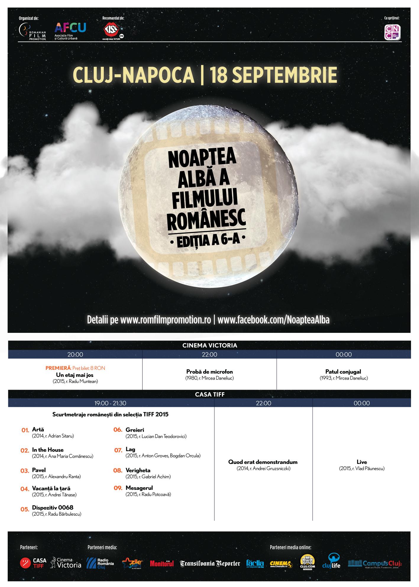 Farmecul filmelor românești la Noaptea Albă 18 septembrie, Cluj-Napoca