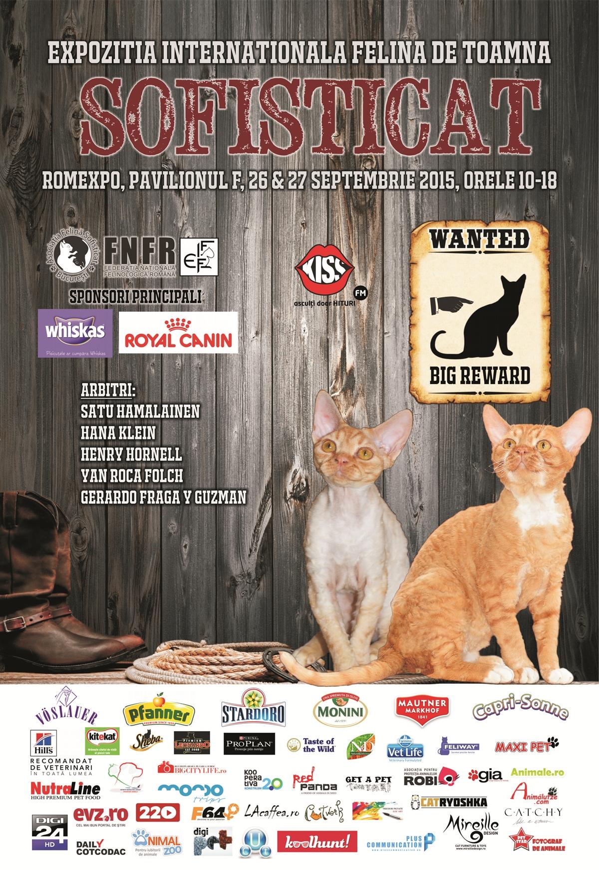 Peste 200 de pisici din toate colturile lumii se vor lasa admirate la Expozitia Internationala Felina de Toamna – SofistiCAT, care va avea loc in zilele de 26 – 27 septembrie 2015, la Pavilionul F din complexul Romexpo, Bucuresti.