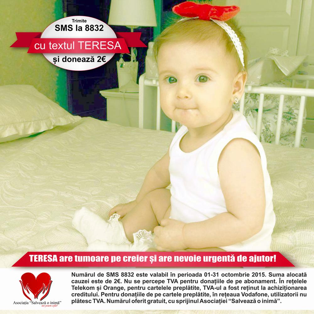 """Un simplu SMS de 2 Euro, la 8832, cu textul """"Teresa"""", îi poate salva viața unei fetițe cu tumoare cerebrală"""