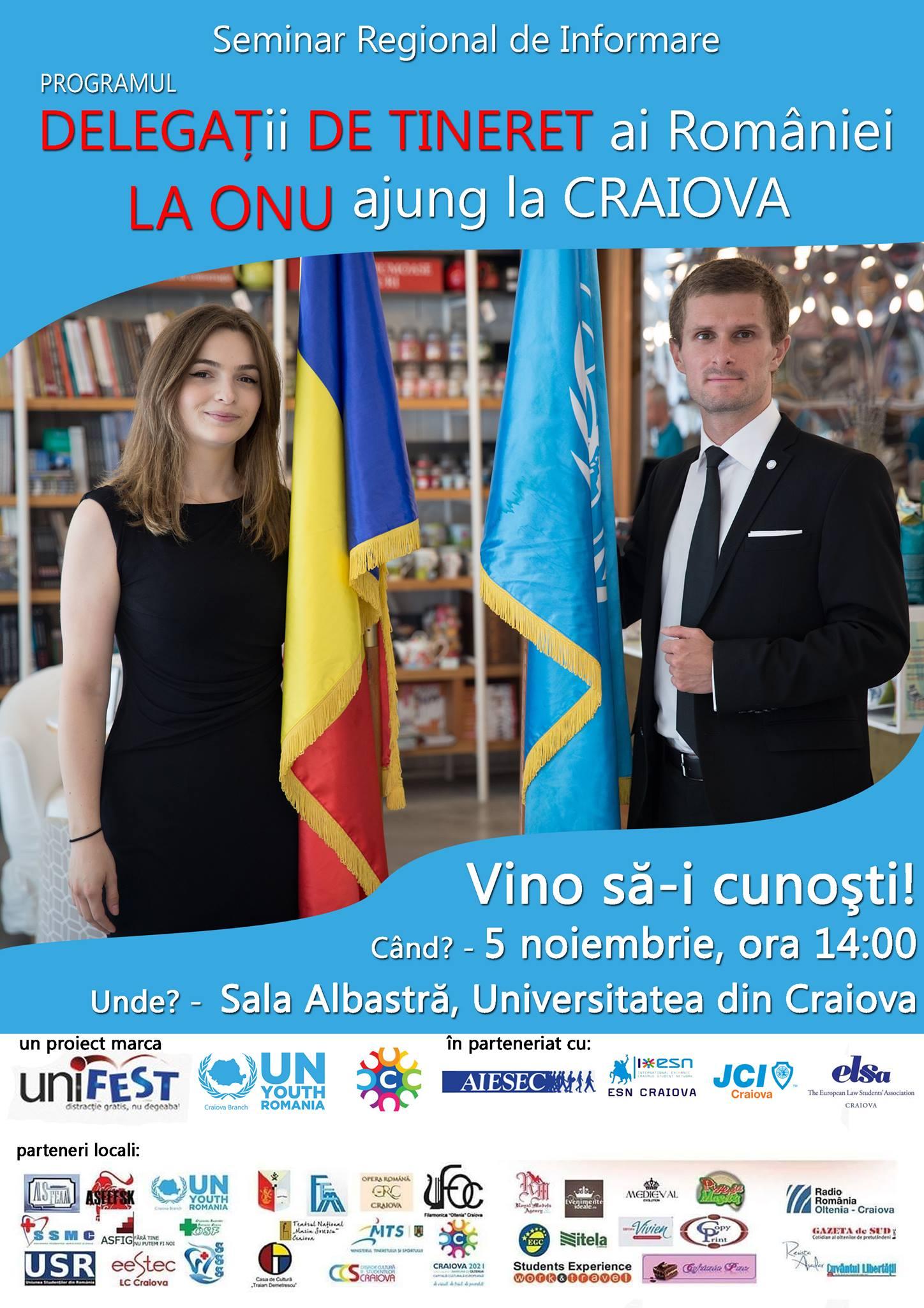 """AIESEC Craiova va fi prezentă la seminarul """"Delegat de Tineret al României la Națiunile Unite"""""""