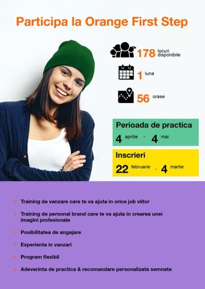 De astăzi studenţii şi masteranzii interesaţi pot aplica la o nouă ediție Orange First Step