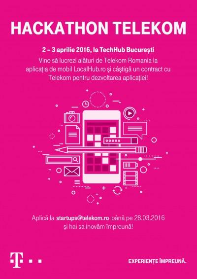 Programatorii și designerii sunt invitaţi la primul Hackathon Telekom Romania pentru dezvoltarea unei aplicații de mobil pentru LocalHub.ro