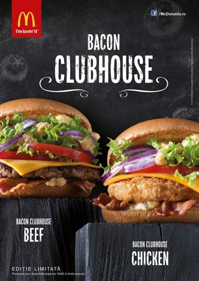 McDonald's lansează doi noi bugeri: Bacon Clubhouse cu vită și pui