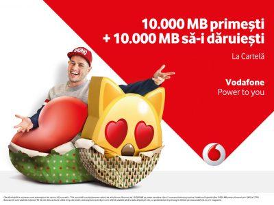 """Sub sloganul """"Ai puterea să dăruiești internetul"""",  Vodafone oferă bonusuri de 10.000 de MB atât utilizatorilor, cât și prietenilor lor"""