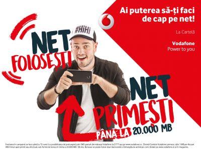 """Prin noua campanie """"Net folosești, Net primești"""", utilizatorii Cartelei Vodafone primesc lunar până la 20.000 de MB, în funcție de consumul de date și de minute efectuat"""
