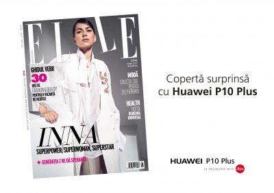 Huawei a realizat prima copertă cu o vedetă fotografiată cu smartphone-ul împreună cu INNA și Elle România