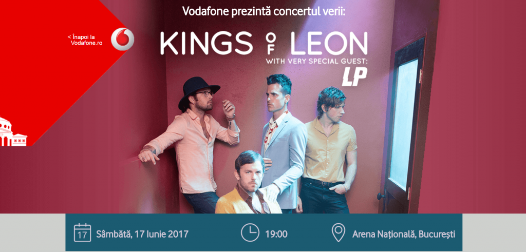 Vodafone Romania ofera internet nelimitat si gratuit la concertul Kings of Leon de pe Arena Nationala