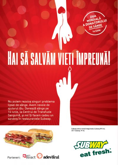 """Subway® marchează Ziua Mondială a Donatorului de Sânge, prin campania națională """"Hai să salvăm vieți împreună"""""""