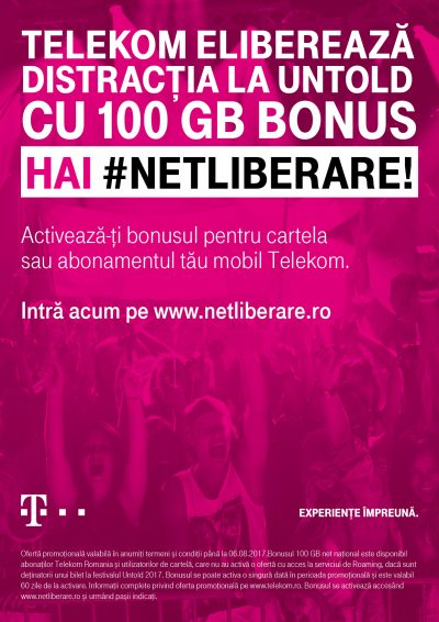 Telekom Romania declară #UNTOLDLIBERARE cu Telekom Radio în aplicația UNTOLD şi 100 GB bonus pentru clienţii de mobil