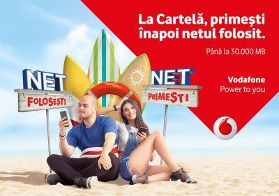 Utilizatorii cartelelor preplatite Vodafone Romania primesc inapoi netul pe care il consuma in limita a 30.000 MB lunar, plus 30.000 MB bonus la inrolarea in Net folosesti, Net primesti
