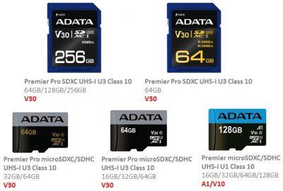 ADATA implementează standardele SD A1 și V10/V30 pe cardurile Premier și Premier Pro