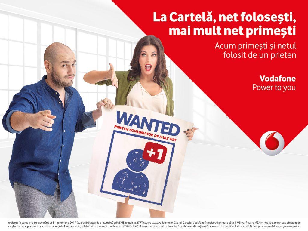 """Cartela Vodafone aduce in aceasta toamna un bonus suplimentar de date utilizatorilor care inscriu un prieten in campania """"Net folosesti, Net primesti"""""""