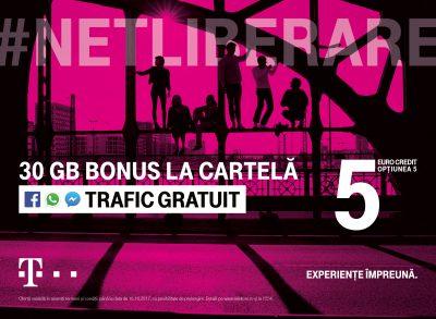 Telekom Romania anunţă noi oferte speciale #Netliberare, de la 5 euro:  trafic de date gratuit în Facebook, Messenger şi WhatsApp la Cartela Telekom, Telekom Sport pe toate ecranele cu abonamentele de Internet TV şi mobil