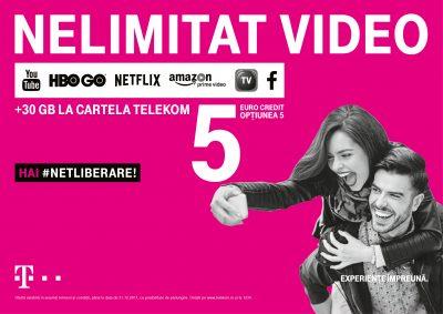 Promisiunea #Netliberare continuă pentru utilizatorii serviciilor preplătite:  YouTube nelimitat plus trafic de date gratuit în alte aplicaţii de video streaming, la Cartela Telekom cu opţiunea de 5 euro credit
