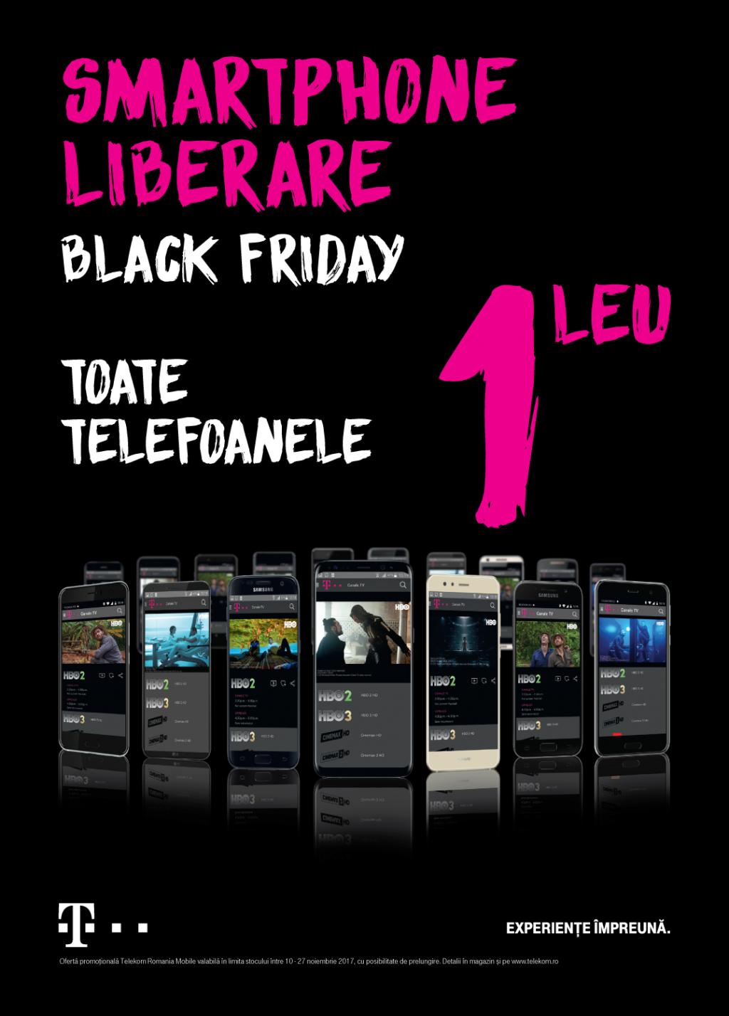 De Black Friday, toate telefoanele din oferta Telekom Romania, disponibile la 1 leu sub umbrela #smartphoneliberare