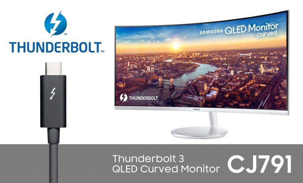 Samsung lansează la CES 2018 primul monitor curbat QLED  cu tehnologia Thunderbolt 3  Monitorul QLED CJ791 dispune de conectivitate Thunderbolt 3, asigurând o viteză mare de  transfer al datelor și o calitate îmbunătățită a imaginii