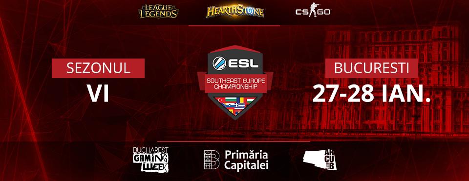 Concurenți din 6 țări se vor lupta pentru 11.000€ în fazele finale ale turneelor ESL de CS:GO, LoL și Hearthstone la Bucharest Gaming Week