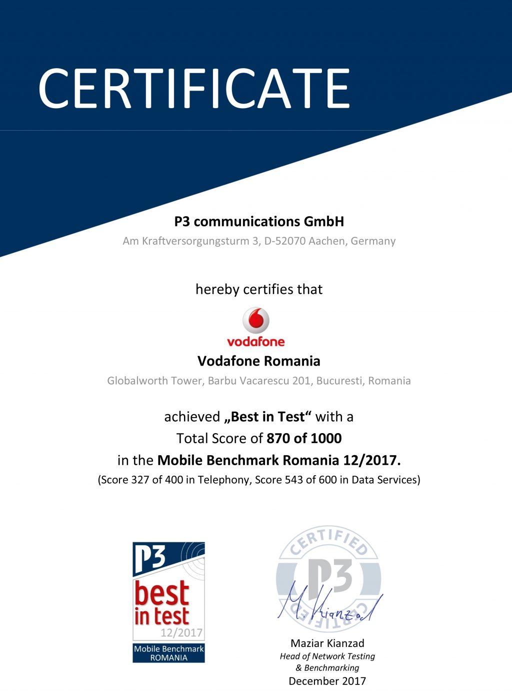 """Reteaua Vodafone, certificata pentru al patrulea an consecutiv drept """"Cea mai performanta retea mobila din Romania"""""""