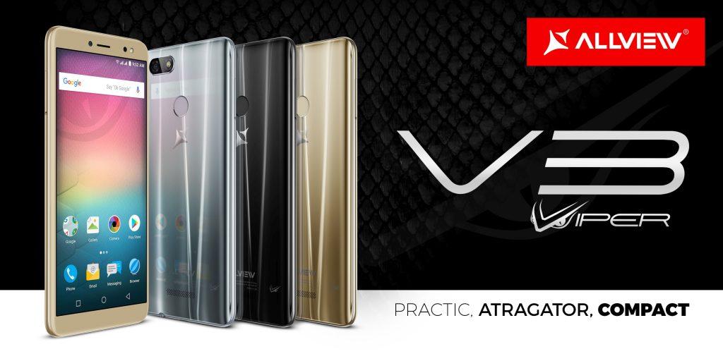 V3 Viper, un smartphone elegant și compact de la Allview:  camere foto cu face beauty video și display 18:9   V3 Viper este primul terminal Allview cu funcția Dual WhatsApp