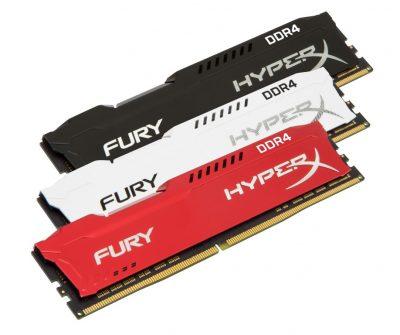 HyperX extinde gamele FURY DDR4 și Impact DDR4 Memoria Plug N Play pentru overclocking automat  Capacitatea kit-urilor de 8GB-64GB. Frecvențe FURY DIMM de până la 3,466MHz.