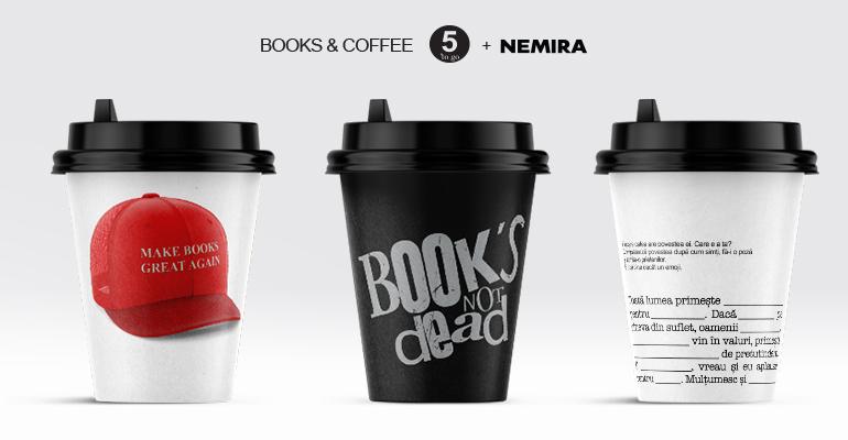 Editura Nemiraîmpreună cu lanțul de cafenele 5 To Go sărbătoresc Ziua Internațională a Cărții printr-o campanie inedită de promovare a plăcerii lecturiiși de încurajare a cititului.