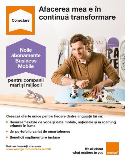 Orange lansează noile abonamente Business Mobile pentru companii mijlocii şi mari, cu beneficii suplimentare de voce, date şi în roaming