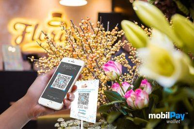Clienții Floria pot plăti rapid buchetele de flori din magazin, prin scanarea directă a codurilor QR cu aplicația mobilPay Wallet