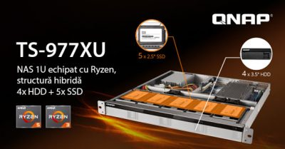 QNAP a lansat TS-977XU, primul NAS 1U cu structură hibridă, echipat cu procesoare AMD Ryzen